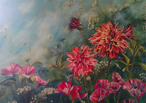 An example painting of flowers by Yolanda Klein